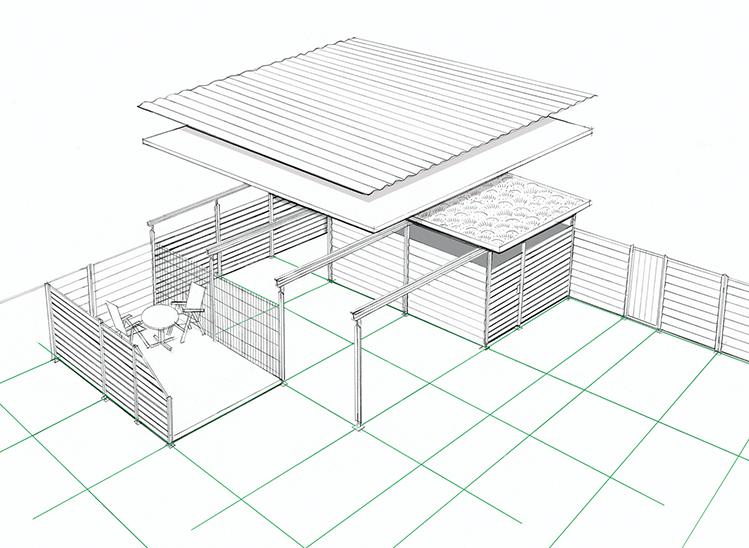 Bausystem für Carports, Fahrrad- und Gerätehäuser sowie Sicht- und Windschutzwände